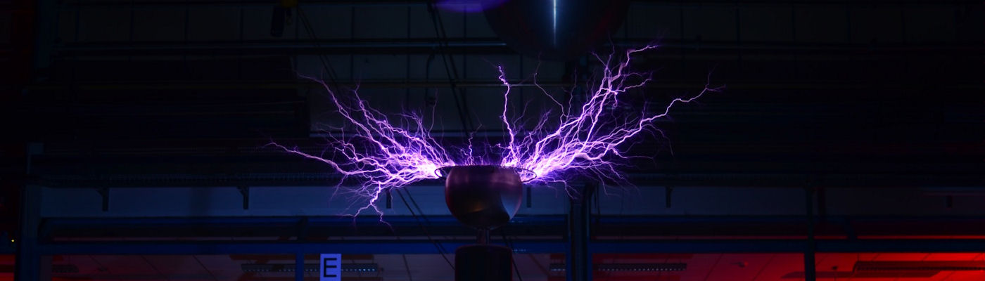 An electrical charge being generated in the High Voltage Lab